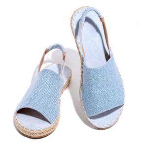 !NEW! Peep Toe Slingback Espadrilles in Light Blue